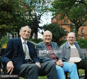 seniors on park bench-001